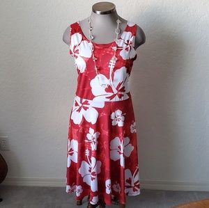 🌺 COW COW 🌺 RED & WHITE HIBISCUS 🌺 SKATER DRESS